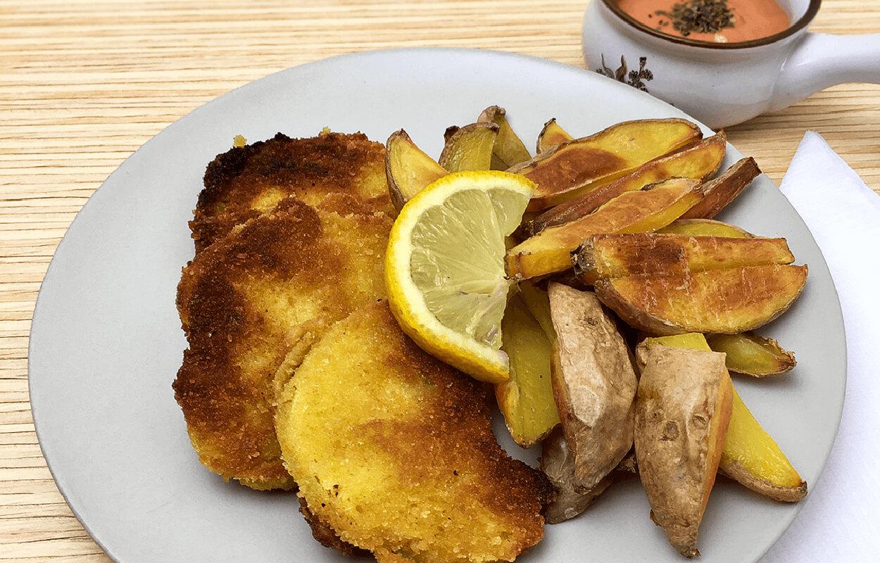 Sellerie-Schnitzel mit Ofenpommes vegan